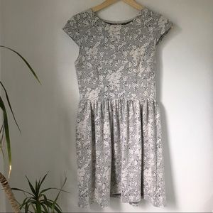 Others Follow Textured Floral Fit and Flare Dress